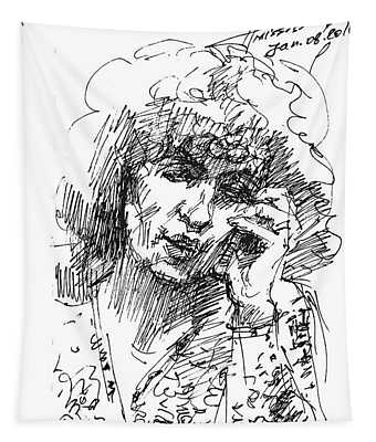 Viola On The Phone Tapestry