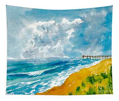 Virginia Beach With Pier Tapestry