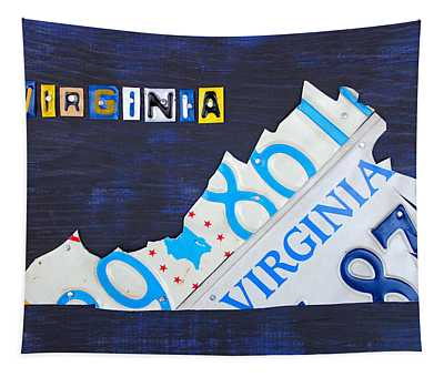 Virginia License Plate Map Art Tapestry