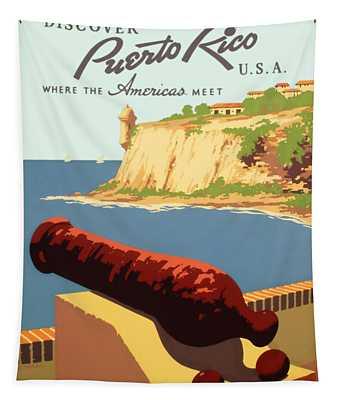 Visit Puerto Rico 1938 Tapestry