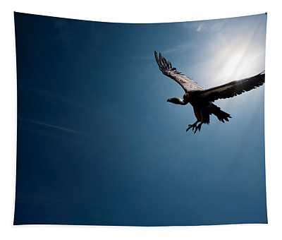 Vulture Flying In Front Of The Sun Tapestry