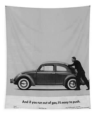 Vw Beetle Advert 1962 - And If You Run Out Of Gas It's Easy To Push Tapestry