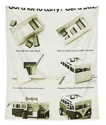 Vw Bus Vintage Advert Tapestry