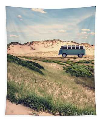 Vw Surfer Bus Out In The Sand Dunes Tapestry