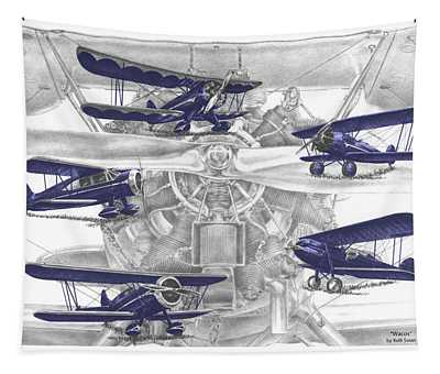 Wacos - Vintage Biplane Aviation Art With Color Tapestry