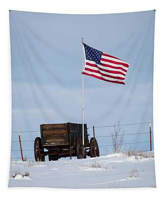 Wagon And Flag Tapestry
