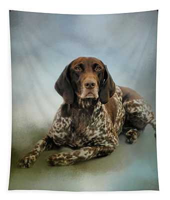 Waiting For A Cue - German Shorthaired Pointer Tapestry