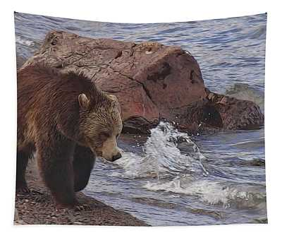 Walking Grizzly Bear On Lakeshore Tapestry