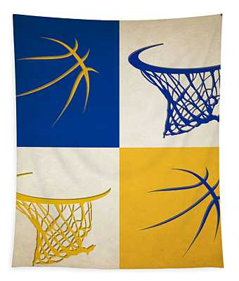 Warriors Ball And Hoop Tapestry