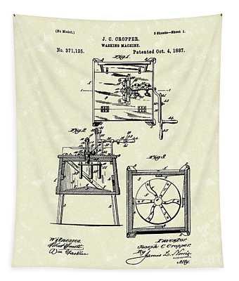 Washing Machine 1887 Patent Art Tapestry