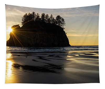 Washington Coast Seastack Sunstar Evening Tapestry