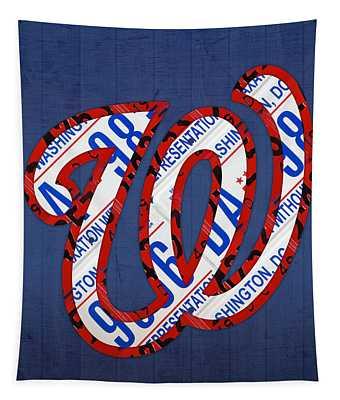 Washington Nationals Vintage Baseball Logo License Plate Art Tapestry