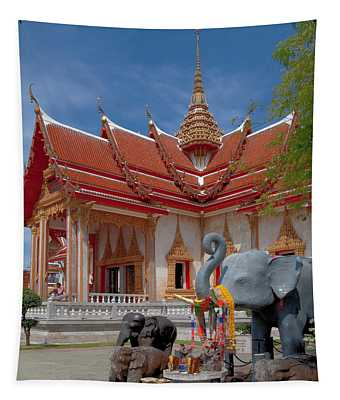 Wat Chalong Wiharn And Elephant Tribute Dthp045 Tapestry