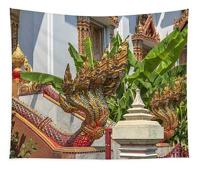 Wat Dokmai Phra Ubosot Stair Naga Dthb1783 Tapestry