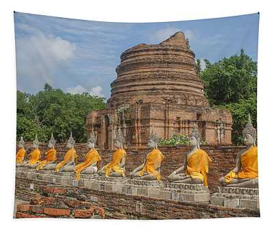 Wat Phra Chao Phya-thai Buddha Images And Ruined Chedi Dtha005 Tapestry