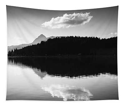 Tapestry featuring the photograph Water Reflection Black And White by Matthias Hauser