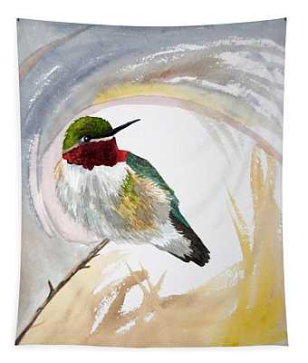 Watercolor - Broad-tailed Hummingbird Tapestry