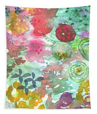 Watercolor Garden Blooms Tapestry