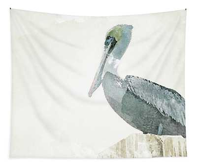 Watercolor Pelican Tapestry