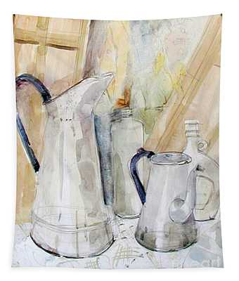 Watercolor Still Life Of White Cans Tapestry