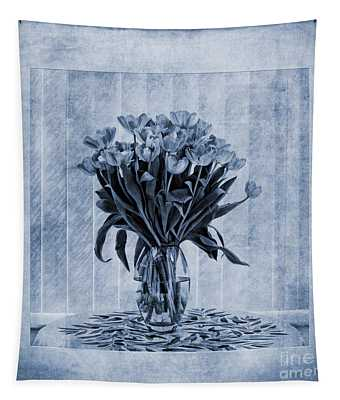 Watercolour Tulips In Blue Tapestry