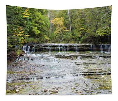 Waterfall In A Forest, Au Train Falls Tapestry