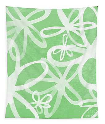 Waterflowers- Green And White Tapestry
