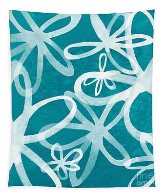 Waterflowers- Teal And White Tapestry