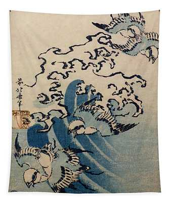 Waves And Birds Tapestry