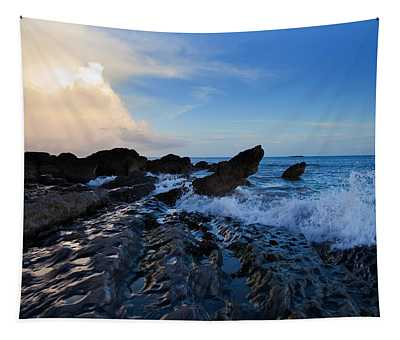 Waves And Rocks , Dungarvan Bay, County Tapestry