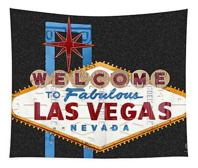 Welcome To Las Vegas Nevada Sign Recycled Vintage License Plate Art Tapestry