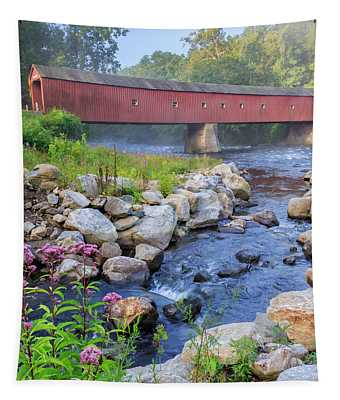 West Cornwall Covered Bridge Square Tapestry