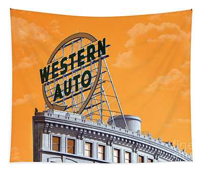 Western Auto Sign Artistic Sky Tapestry