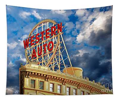 Western Auto Sign Downtown Kansas City Tapestry
