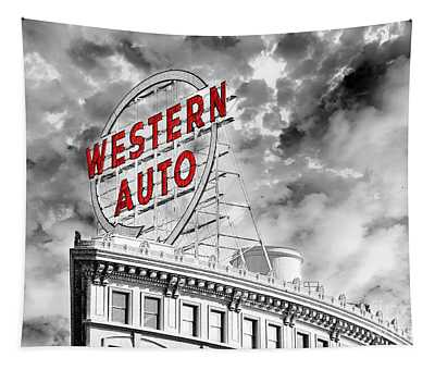 Western Auto Sign Downtown Kansas City B W Tapestry