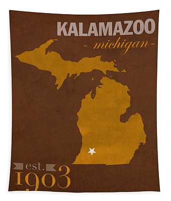 Western Michigan University Broncos Kalamazoo Mi College Town State Map Poster Series No 126 Tapestry
