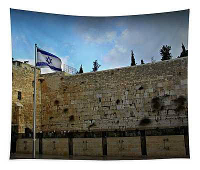 Western Wall And Israeli Flag Tapestry