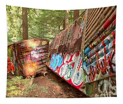 Whistler Train Wreck Box Cars Tapestry