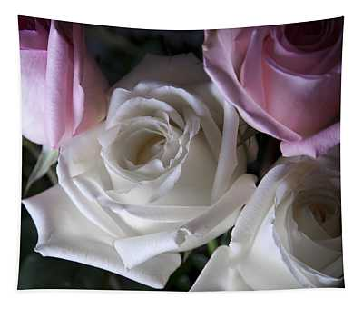 White And Pink Roses Tapestry
