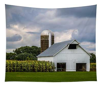 White Barn And Silo With Storm Clouds Tapestry