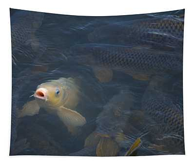 White Carp In The Lake Tapestry