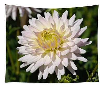 White Dahlia Flower Tapestry