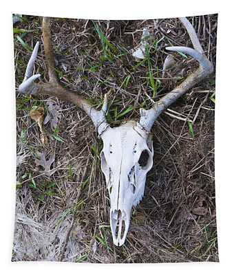White Deer Skull In Grass Tapestry
