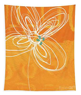 White Flower On Orange Tapestry