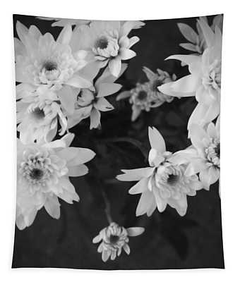White Flowers- Black And White Photography Tapestry