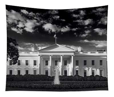White House Sunrise B W Tapestry