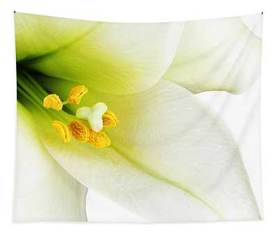 White Lilly Macro Tapestry