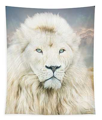 Tapestry featuring the mixed media White Lion - Spirit Of Goodness by Carol Cavalaris
