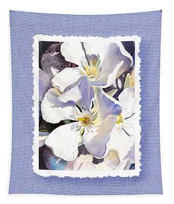 White Oleander On Vintage Blue Tapestry