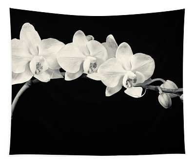White Orchids Monochrome Tapestry